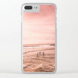 Ocean beach surf print -   Minimalist wall art summer sea beach poster Clear iPhone Case