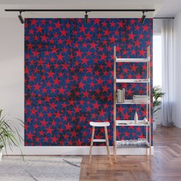 Red stars on grunge textured blue background Wall Mural