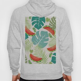 Tropical red green watermelon fruit floral Hoody