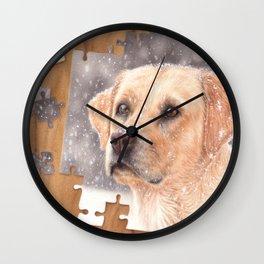 Winter labrador colored pencil illustration Wall Clock