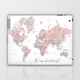 Wanderlust - Dusty pink and grey watercolor world map, detailed Laptop & iPad Skin
