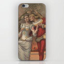 Vintage Christmas Romance Under The Mistletoe (1886) iPhone Skin