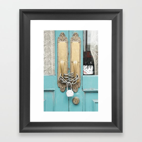 Lock and lace Framed Art Print