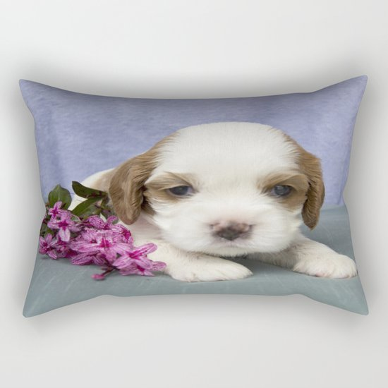 Puppy with flowers Rectangular Pillow