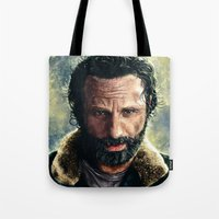 rick grimes Tote Bags featuring The Walking Dead - Rick Grimes by p1xer