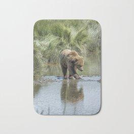 Brown Bear Cub Crossing a Stream Bath Mat