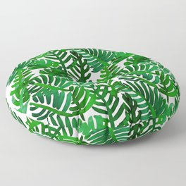 Round Palm Green Floor Pillow