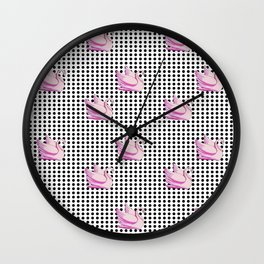 black dots and pink swans 2 Wall Clock