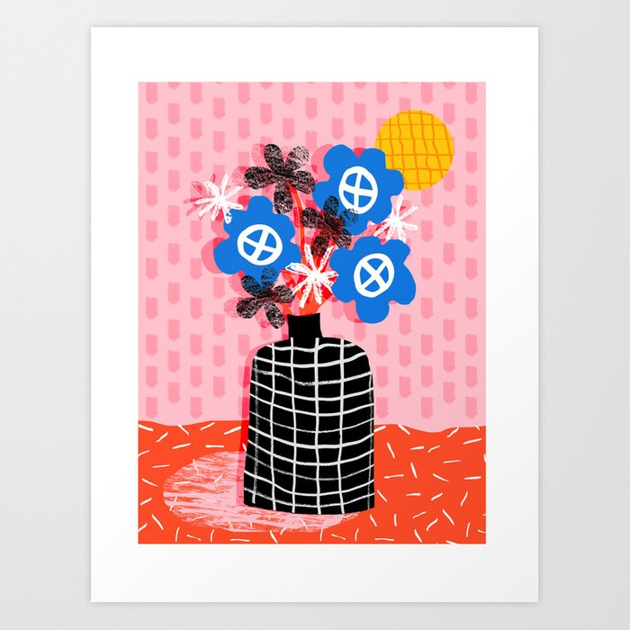 Works for Me - throwback retro memphis still life floral vase flowers grid pattern Art Print