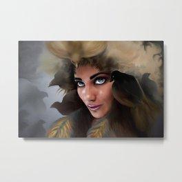 Portrait 2 woman with birds Metal Print