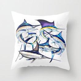 Pacific Billfish Slam Marlins,Sailfish,Swordfish,Spearfish Throw Pillow