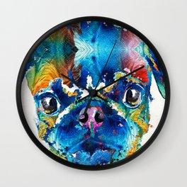 Colorful Pug Art - Smug Pug - By Sharon Cummings Wall Clock