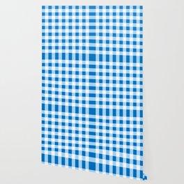Blue and White Buffalo Check Wallpaper