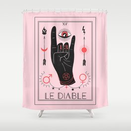 Le Diable or The Devil Tarot Shower Curtain