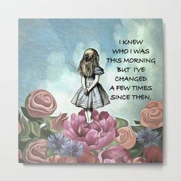 Wondering Alice - Alice In Wonderland Quote Metal Print