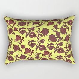 red flowers and leaves . art Rectangular Pillow