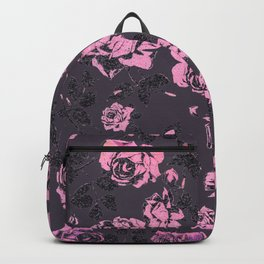Blush Pink and Black Floral Print Rustic Roses Backpack