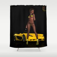 taxi driver Shower Curtains featuring Sinful Driver by J. Ekstrom