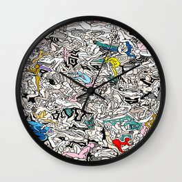 Kamasutra LOVE Doodle Closeup Color Valentine Wall Clock