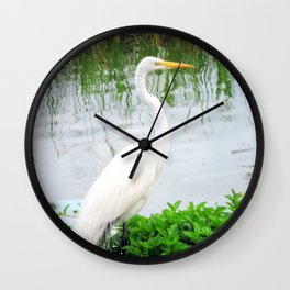 The Great White Egret:) (pointillism) | Large White Bird | Nature Photography Wall Clock