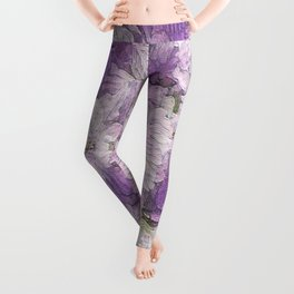 Purple - Lavender Fluffy Floral Abstract Leggings