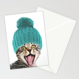 Cat with hat illustration Stationery Cards
