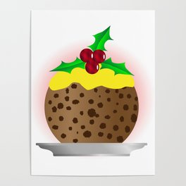 Christmas Pudding With Custard And Holly Sprig Poster