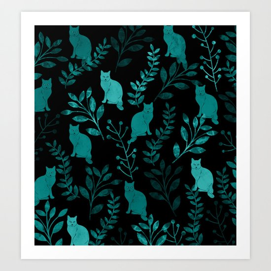 Watercolor Floral and Cat IV Art Print