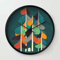 cabin Wall Clocks featuring Cabin in the woods by Picomodi