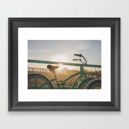 Bike & Beach in Sunny Manhattan Beach, California Framed Art Print