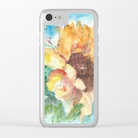 Happy Sunflower Clear iPhone Case