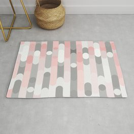 pink and gray round rectangle Rug
