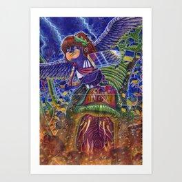 Kid Icarus Pit vs Medusa NES Nintendo Art Print