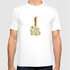 man listening something from the sky MEDIUM White Mens Fitted Tee