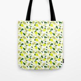 Mediterranean Summer Lemons and Green Leaves Pattern Tote Bag