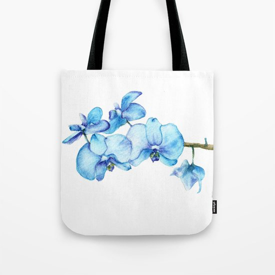 Blue Orchids Two - Watercolor Tote Bag