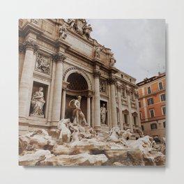 Italy Photography - Trevi Fountain Under The Gray Sky Metal Print