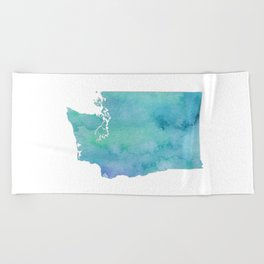 Watercolor Washington State Beach Towel