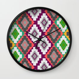 Colorful ethnic rhombs Wall Clock