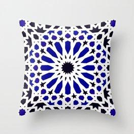 (N8) Epic Original Blue Moroccan Geometric Artwork. Throw Pillow