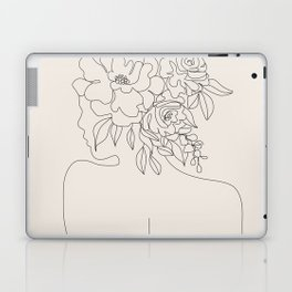 Woman with Flowers Minimal Line I Laptop & iPad Skin
