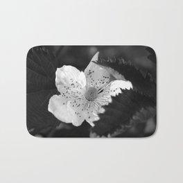 Black and White Strawberry Blossom Bath Mat