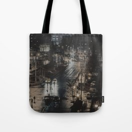Bucharest. Rain. Silhouettes Tote Bag