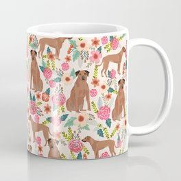 Rhodesian Ridgeback floral dog breed gifts pure breed must have dog pattern Coffee Mug
