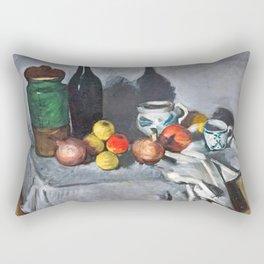 Paul Cézanne - Pots, bouteille, tasse et fruits Rectangular Pillow