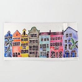 Rainbow Row – Charleston Beach Towel