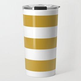 Satin sheen gold - solid color - white stripes pattern Travel Mug