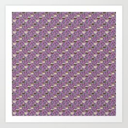 Figgy Plum Pudding Christmas Dessert Purple Repeat Art Print