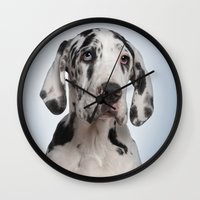 great dane Wall Clocks featuring Great dane by Life on White Creative