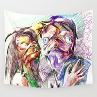 pugs Wall Tapestries featuring Dramatic pugs by Stin